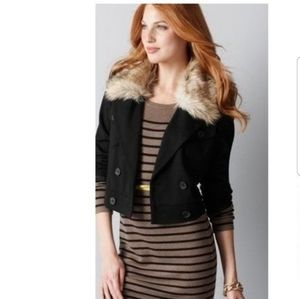 LOFT Faux Fur Collar Double-Breasted Jacket